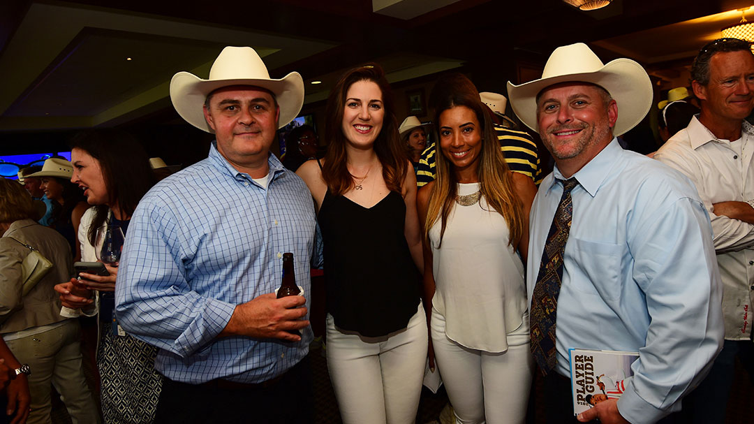 Sandra Gal (left) and Cheyenne Woods at the VOA Texas Shootout ProAm Party