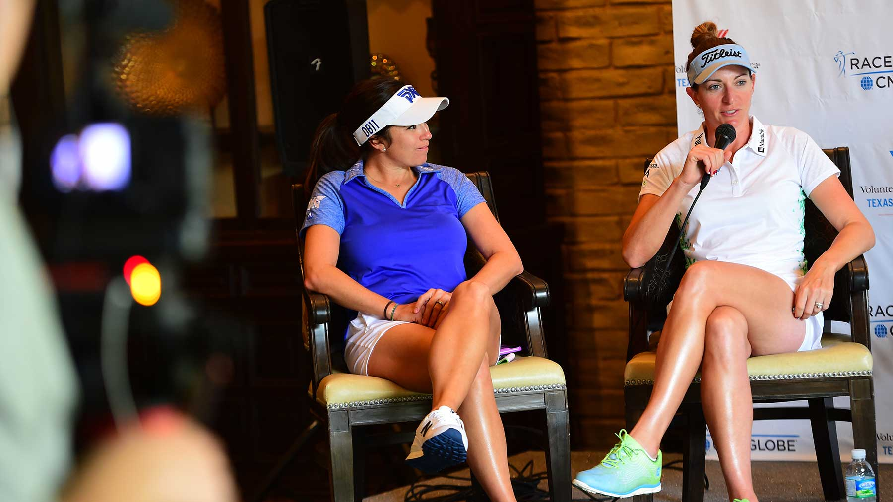Gerina Piller (left) and Brittany Lang talk to the media before the 2016 VOA Texas Shootout Presented by JTBC
