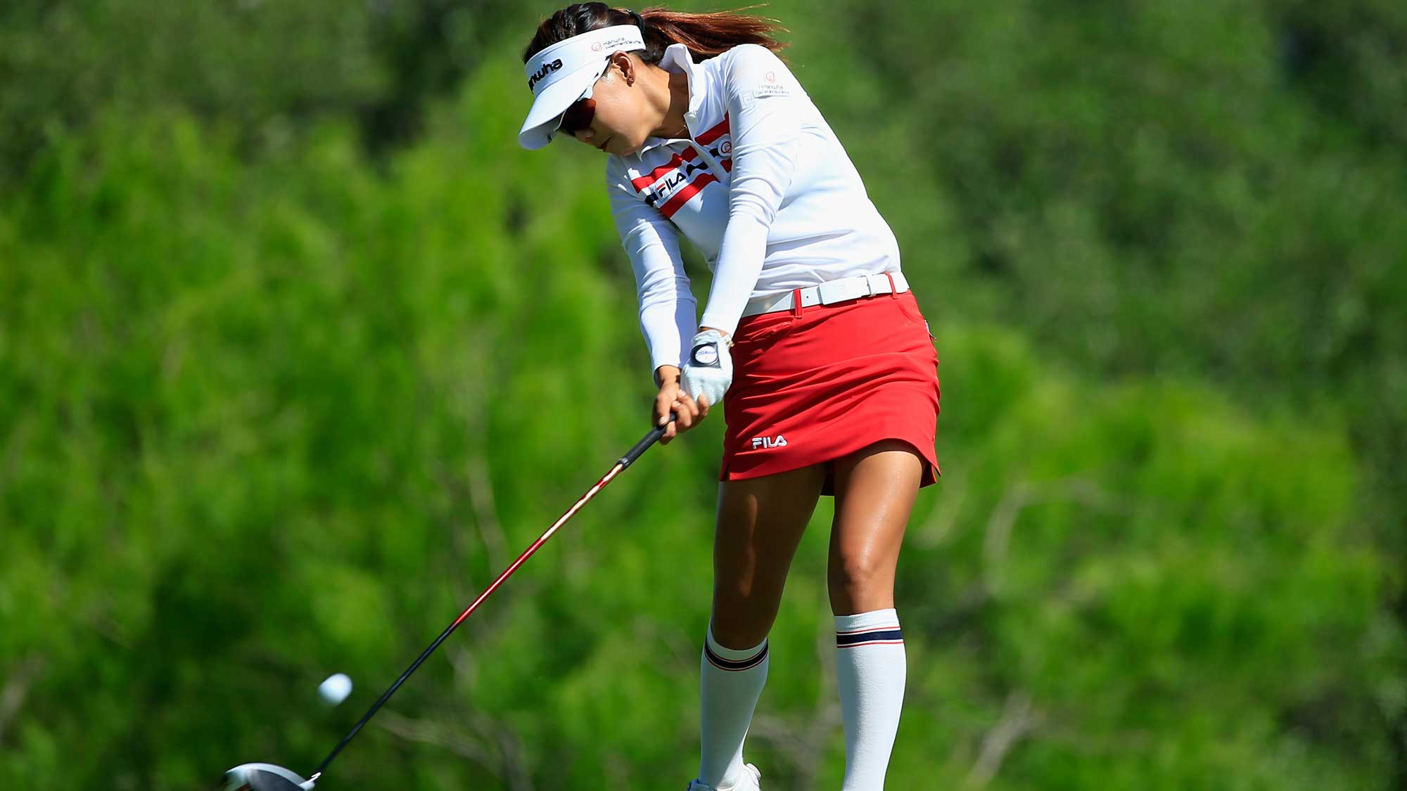 Jenny Shin hits her tee shot on the third hole during the first round of the Volunteers of America Texas Shootout