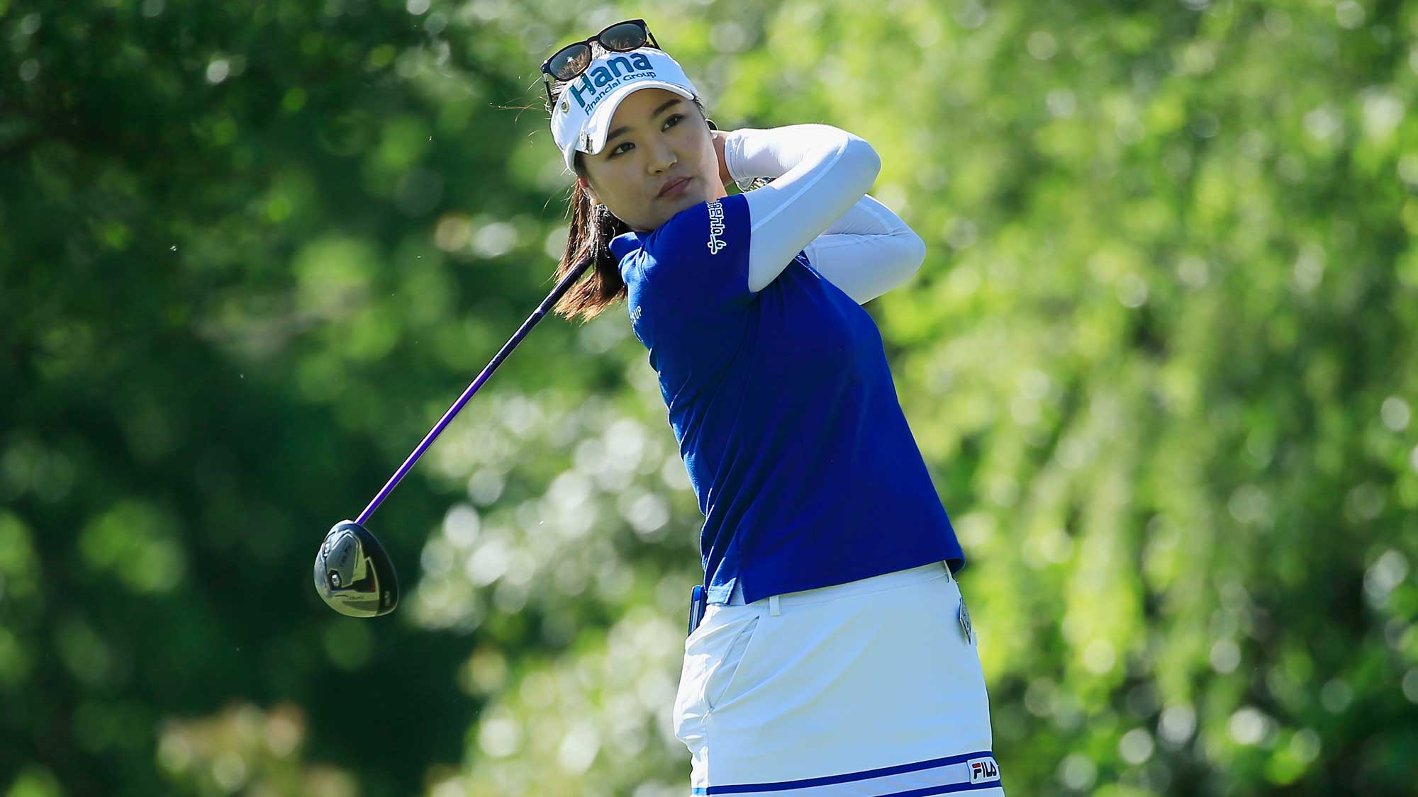 So Yeon Ryu of South Korea hits her tee shot on the seventh hole during the first round of the Volunteers of America Texas Shootout