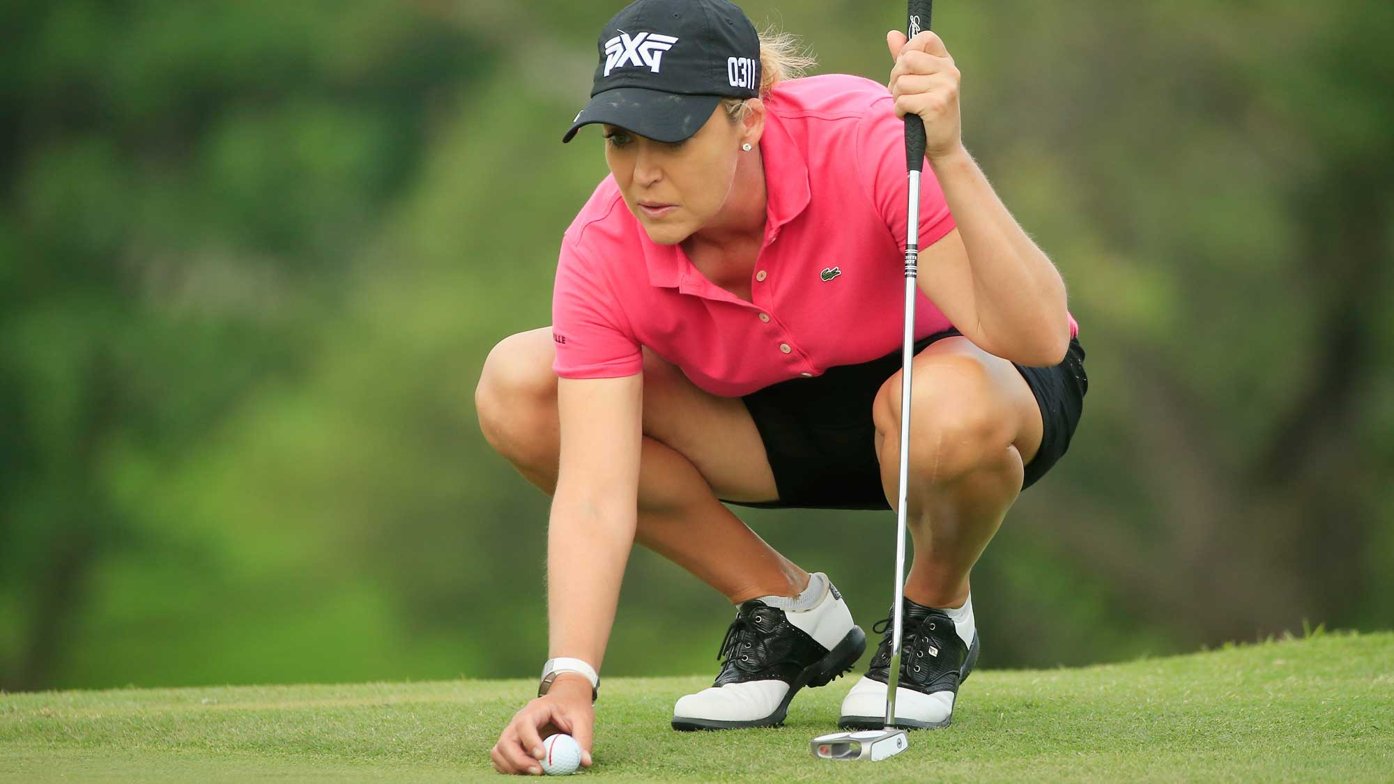 Cristie Kerr lines up a putt on the second green during the second round of the Volunteers of America Texas Shootout
