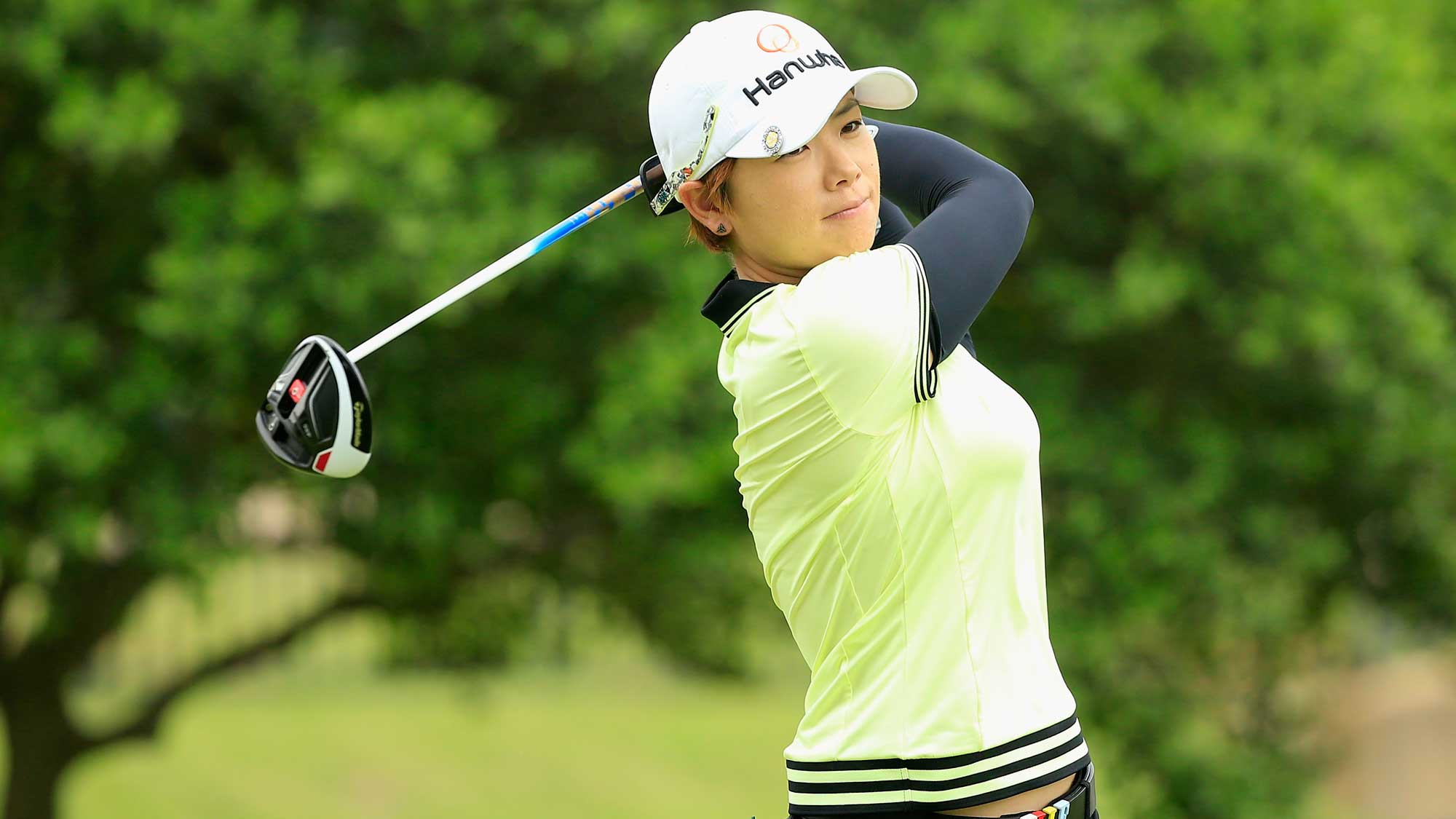 Eun-Hee Ji of South Korea watches her tee shot on the second hole during the second round of the Volunteers of America Texas Shootout