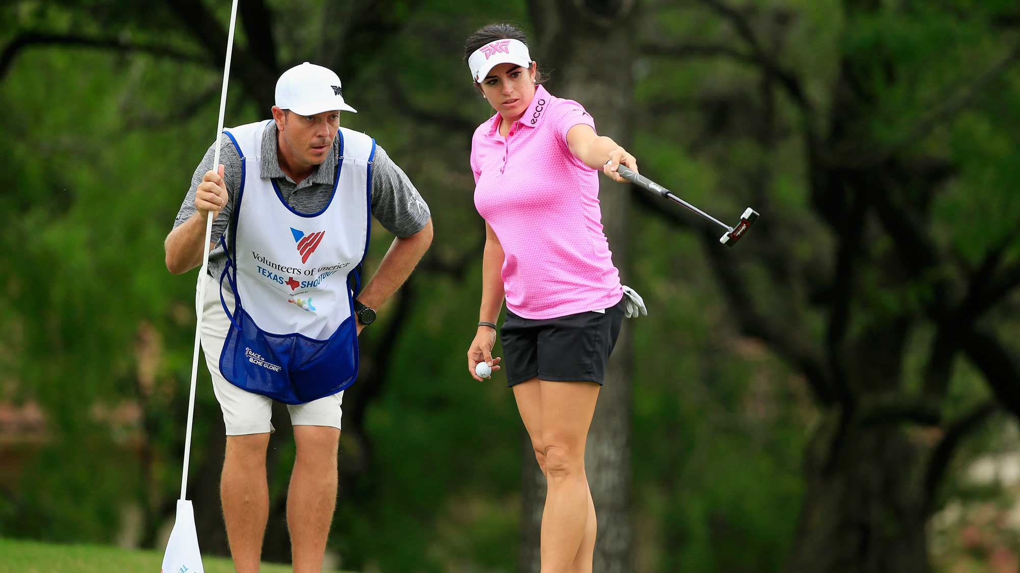 Gerina Piller reads a putt with her caddie Brian Dilley on the second green during the second round of the Volunteers of America Texas Shootout