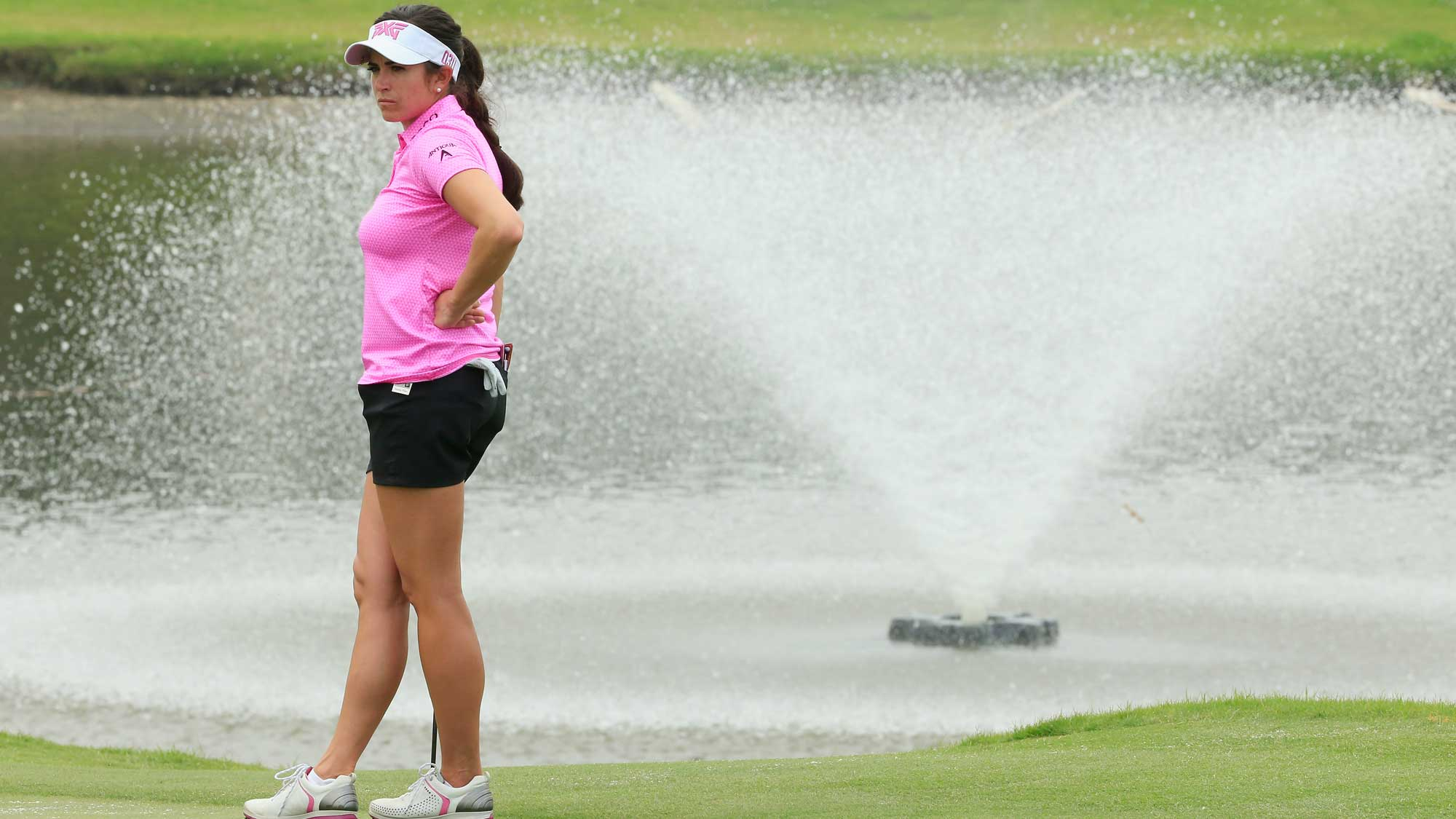 Gerina Piller waits on the 18th green during the second round of the Volunteers of America Texas Shootout