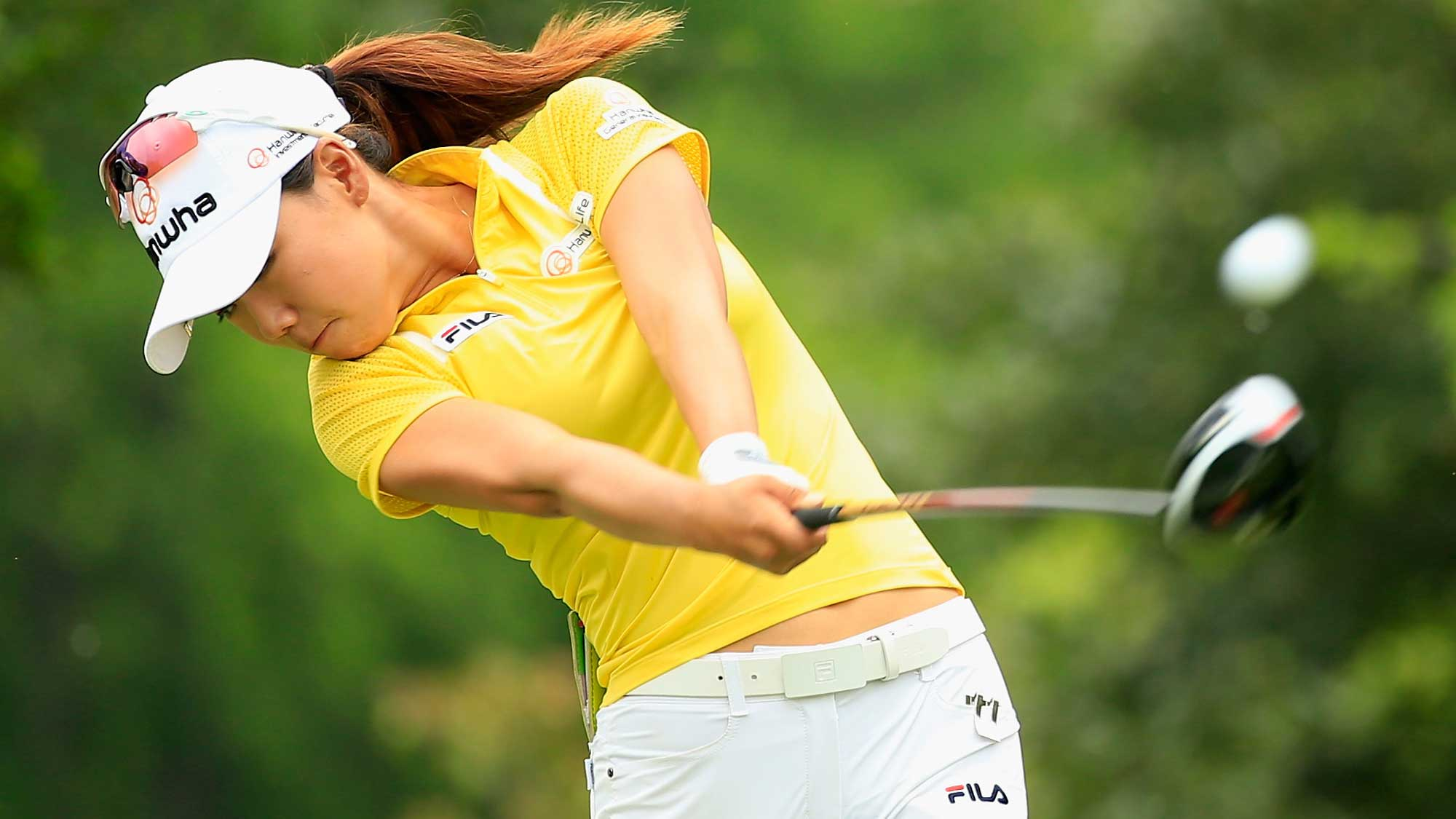 Jenny Shin hits her tee shot on the seventh hole during the second round of the Volunteers of America Texas Shootout