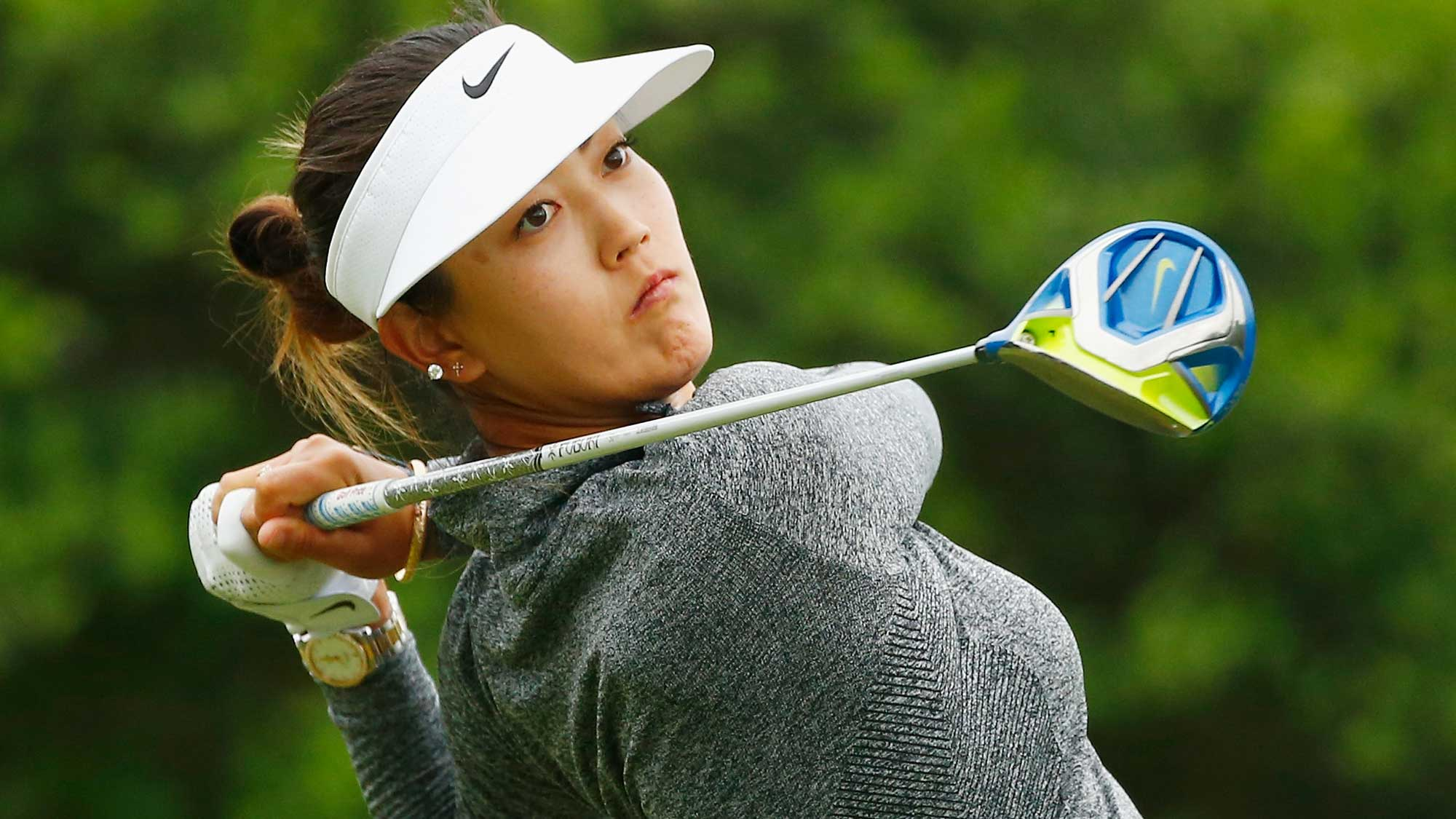 Michelle Wie watches her tee shot on the second hole during the second round of the Volunteers of America Texas Shootout