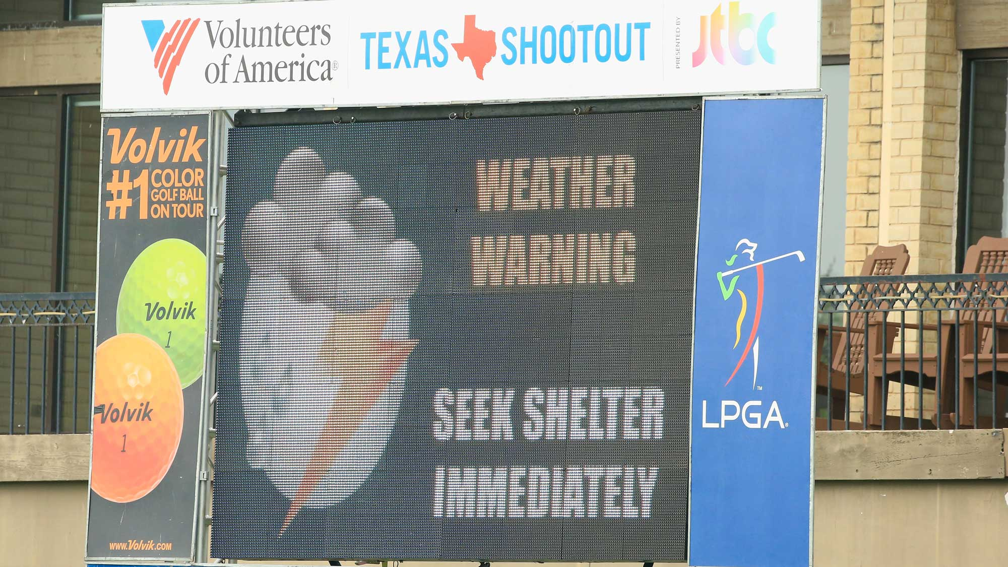A warning sign is seen after play was suspended by dangerous weather during the second round of the Volunteers of America Texas Shootout