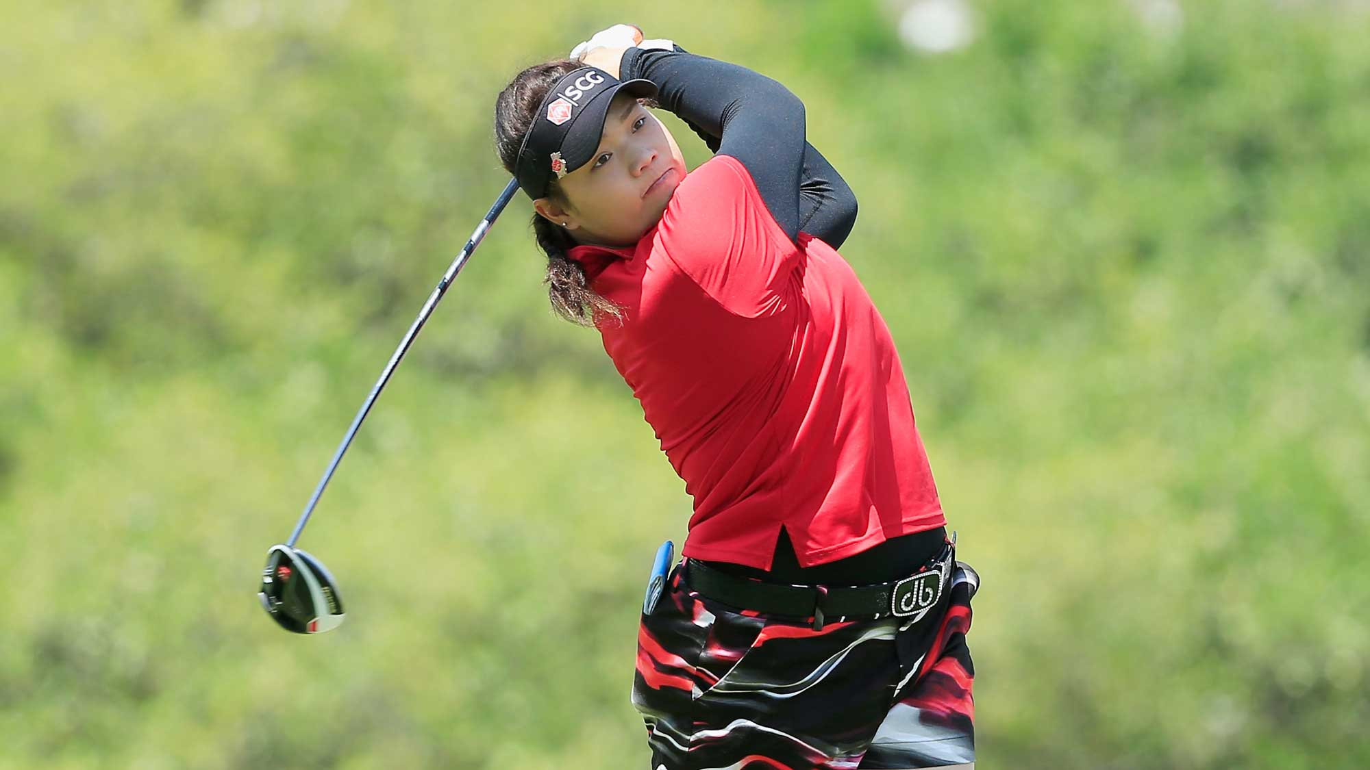 Ariya Jutanugarn of Thailand hits her tee shot on the third hole during the third round of the Volunteers of America Texas Shootout