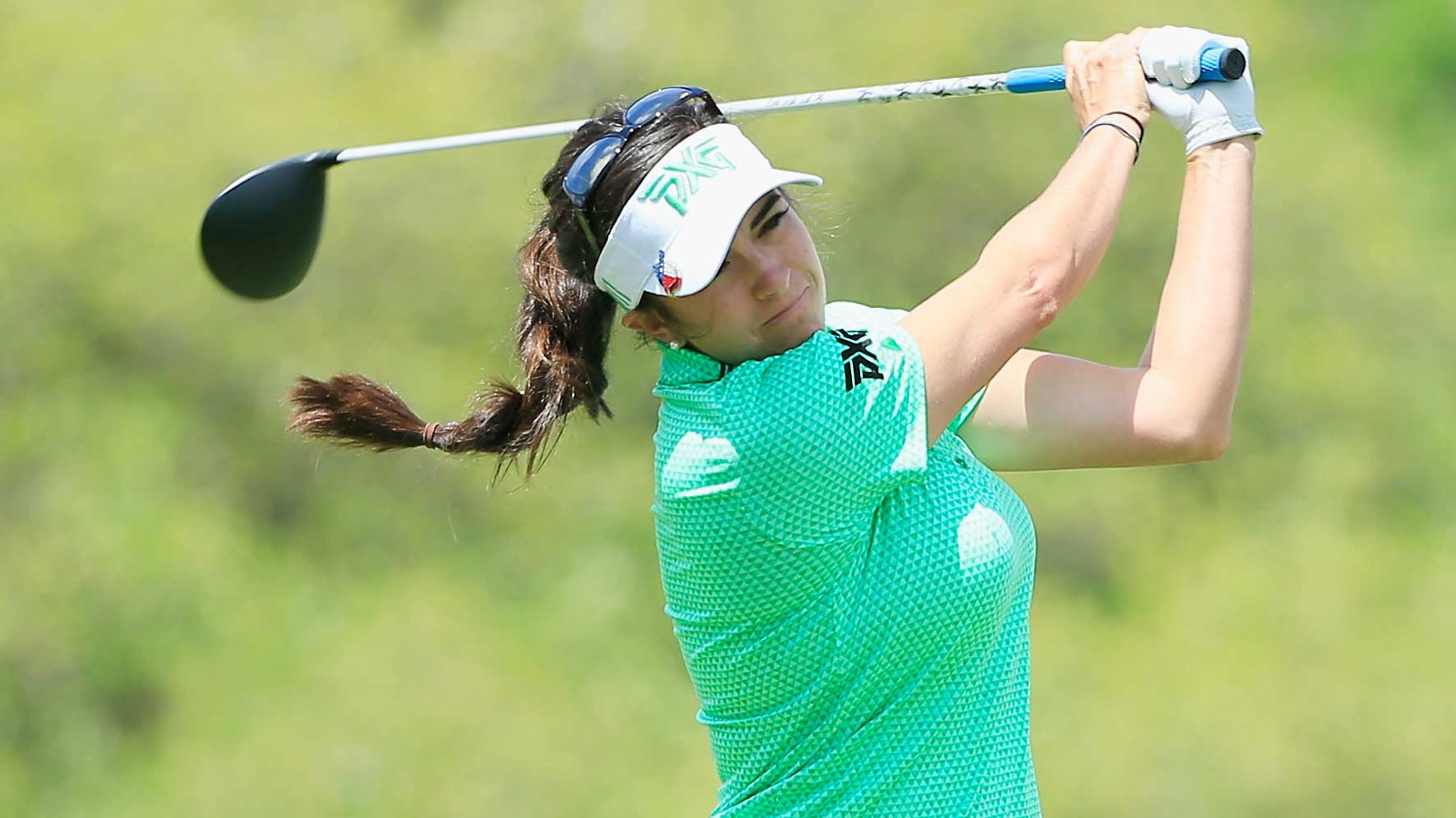Gerina Piller hits her tee shot on the third hole during the third round of the Volunteers of America Texas Shootout