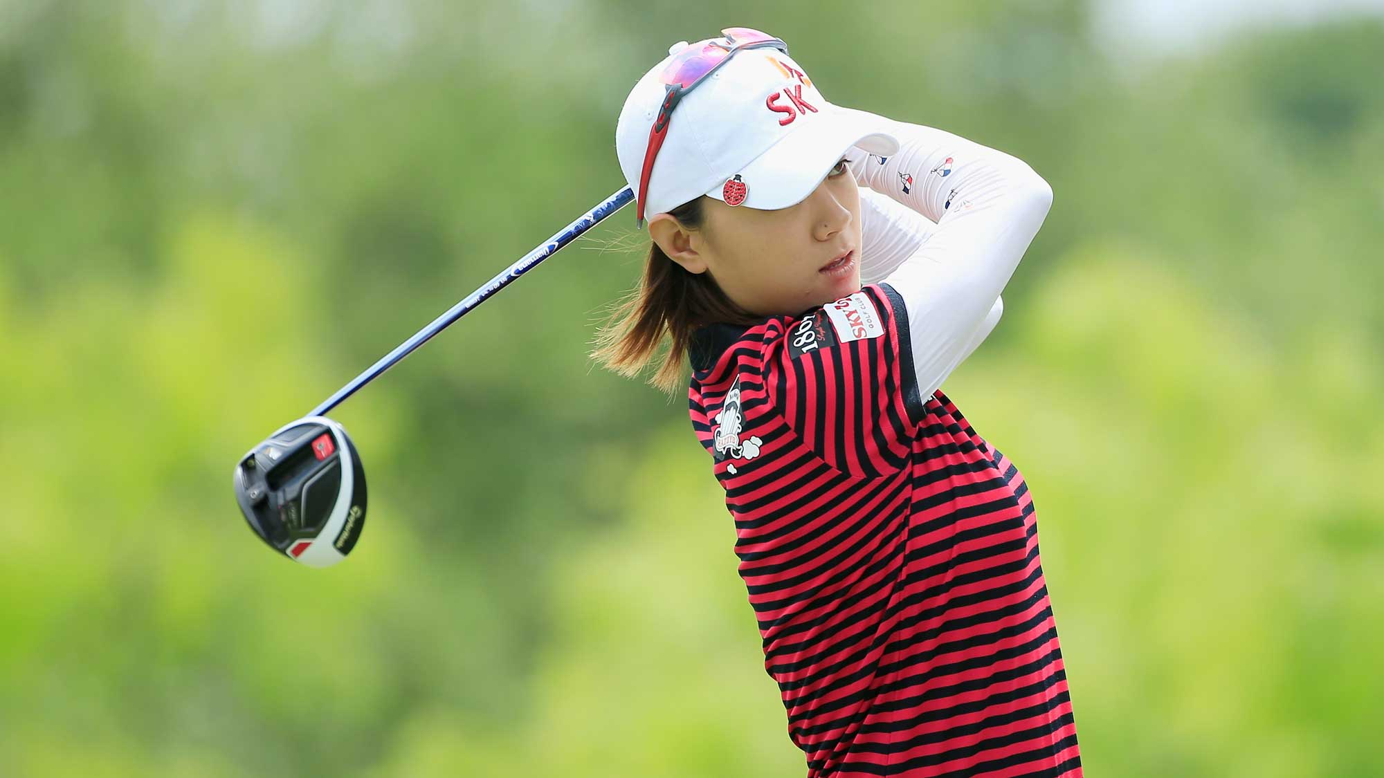 Na Yeon Choi of South Korea hits her tee shot on the eighth hole during the third round of the Volunteers of America Texas Shootout