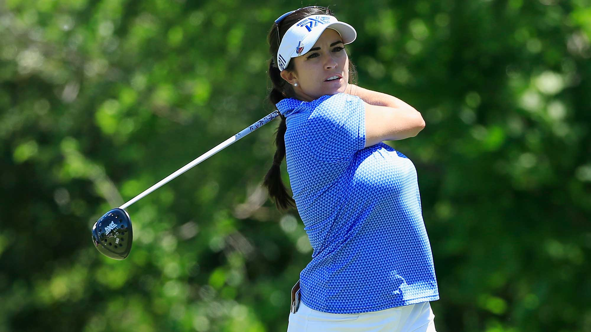 Gerina Piller hits her tee shot on the seventh hole during the final round of the Volunteers of America Texas Shootout