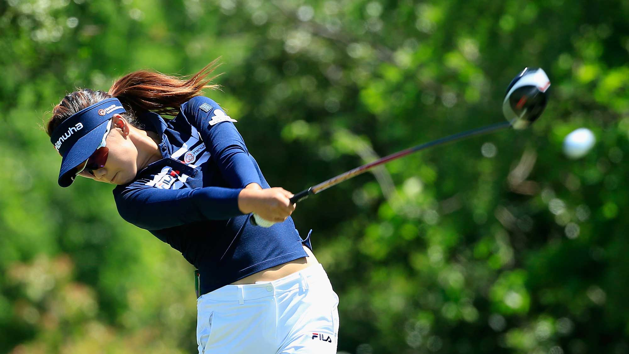 Jenny Shin hits her tee shot on the seventh hole during the final round of the Volunteers of America Texas Shootout