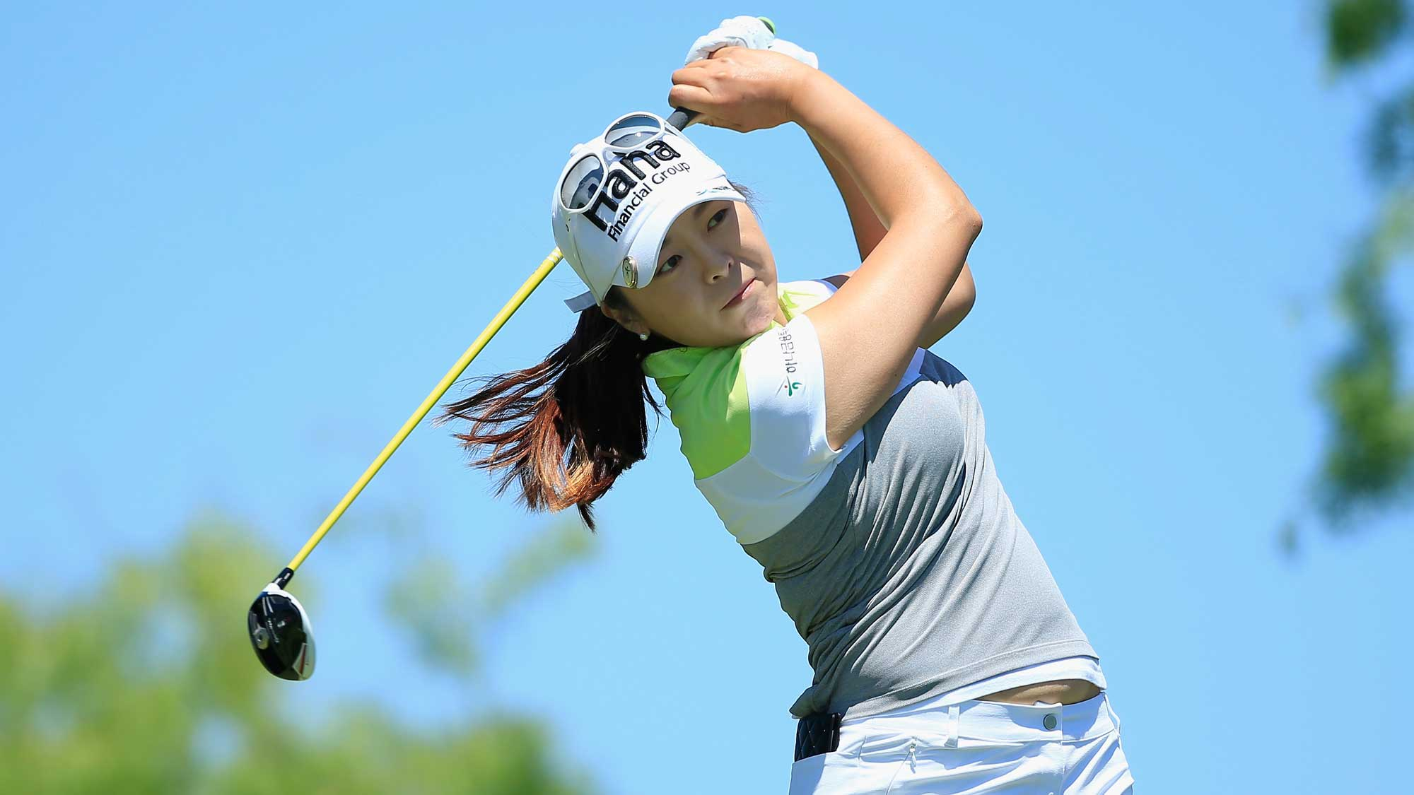 Mi Jung Hur of South Korea hits her tee shot on the third hole during the final round of the Volunteers of America Texas Shootout