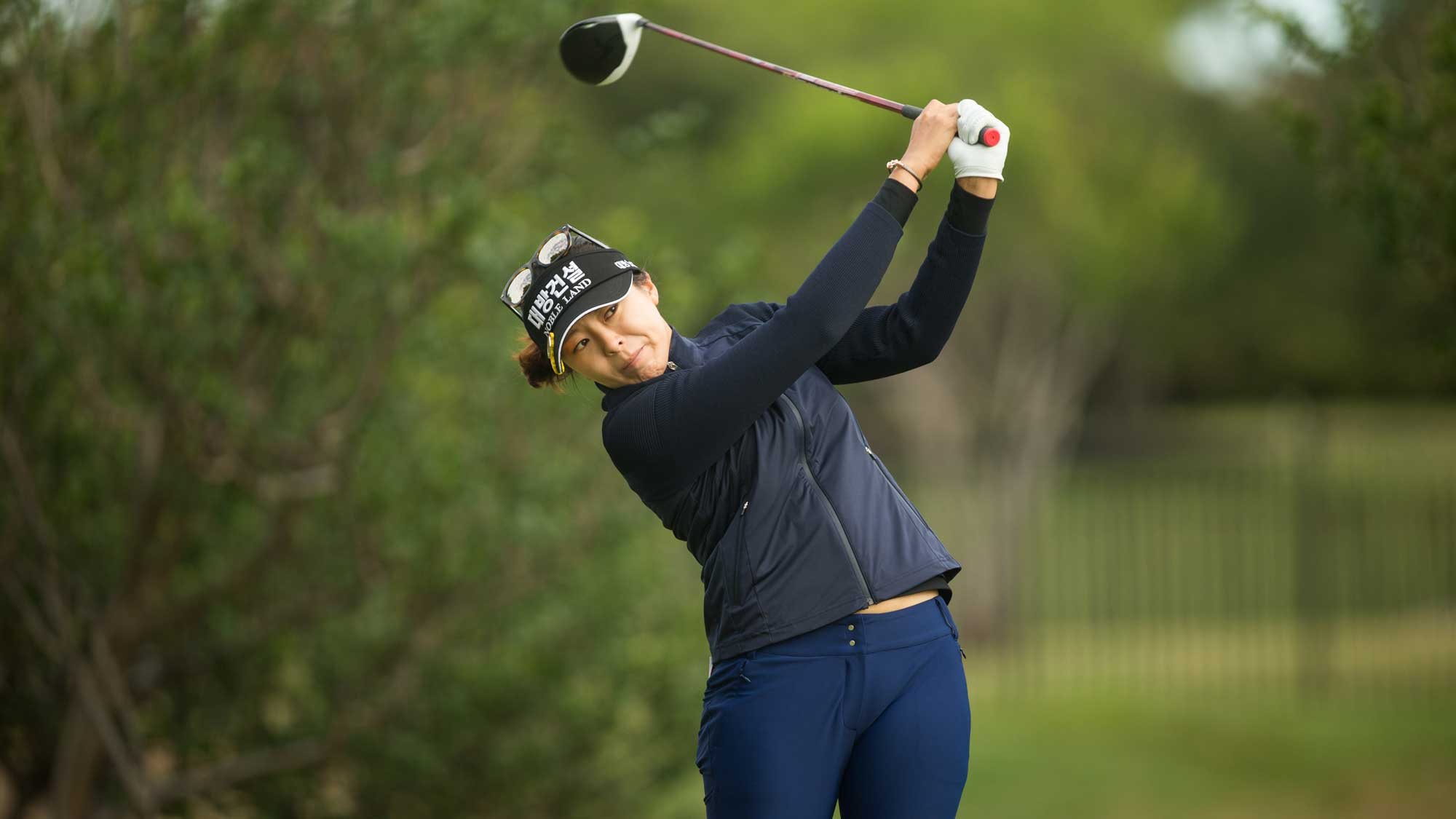 Mi Jung Hur of South Korea plays a tee shot at the second hole during the first round of the Volunteers of America Texas Shootout
