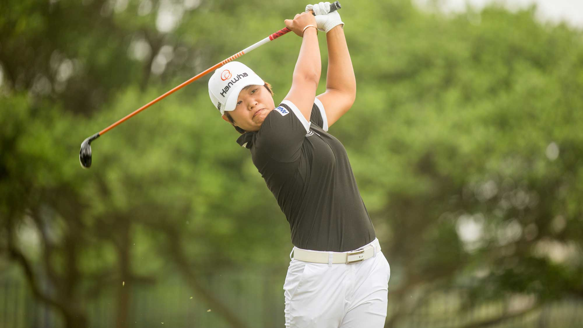 Haru Nomura of Japan plays her tee shot at the second hole during the third round of the Volunteers of America Texas Shootout