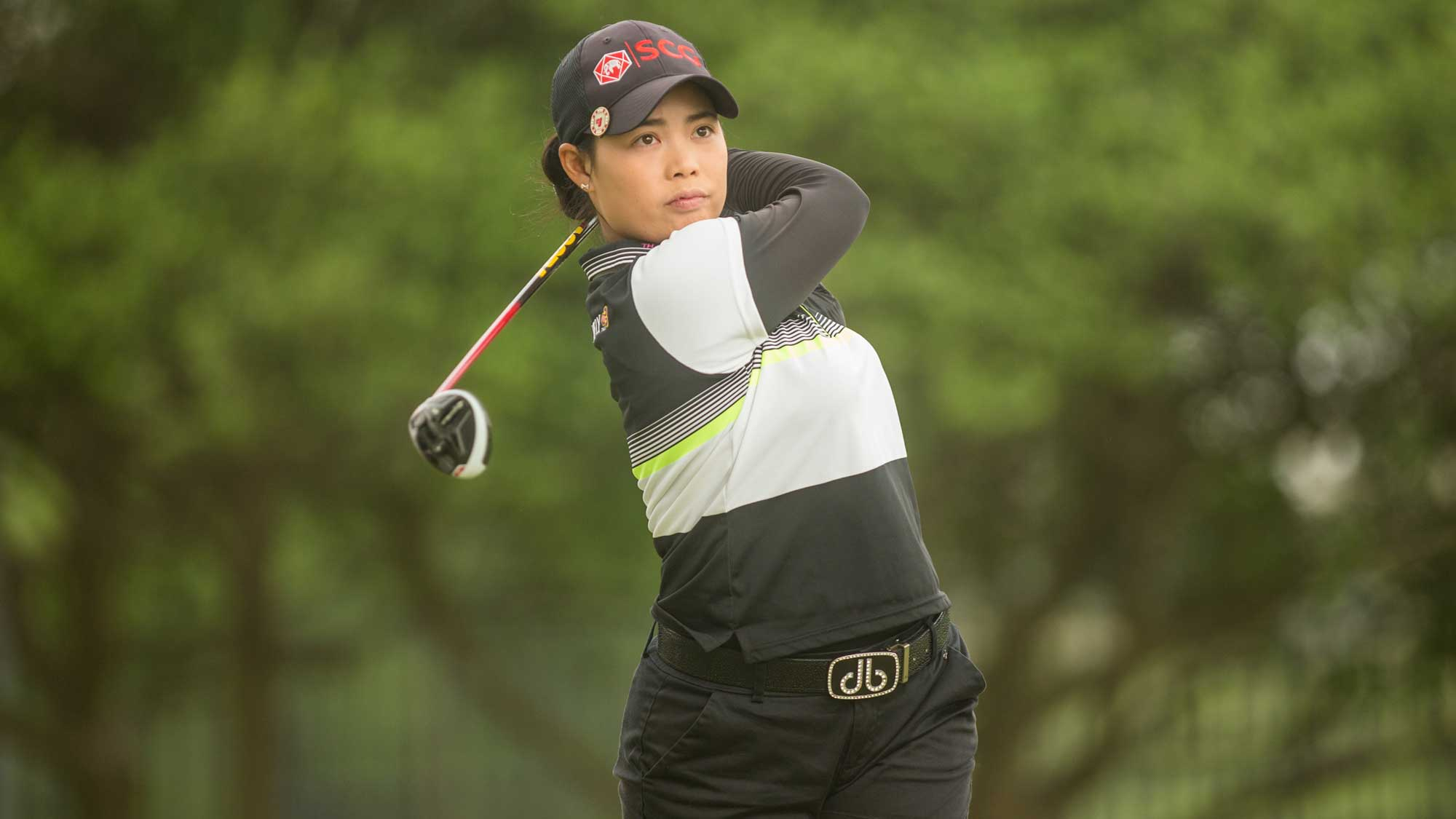 Moriya Jutanugarn of Thailand plays her tee shot at the second hole during the third round of the Volunteers of America Texas Shootout