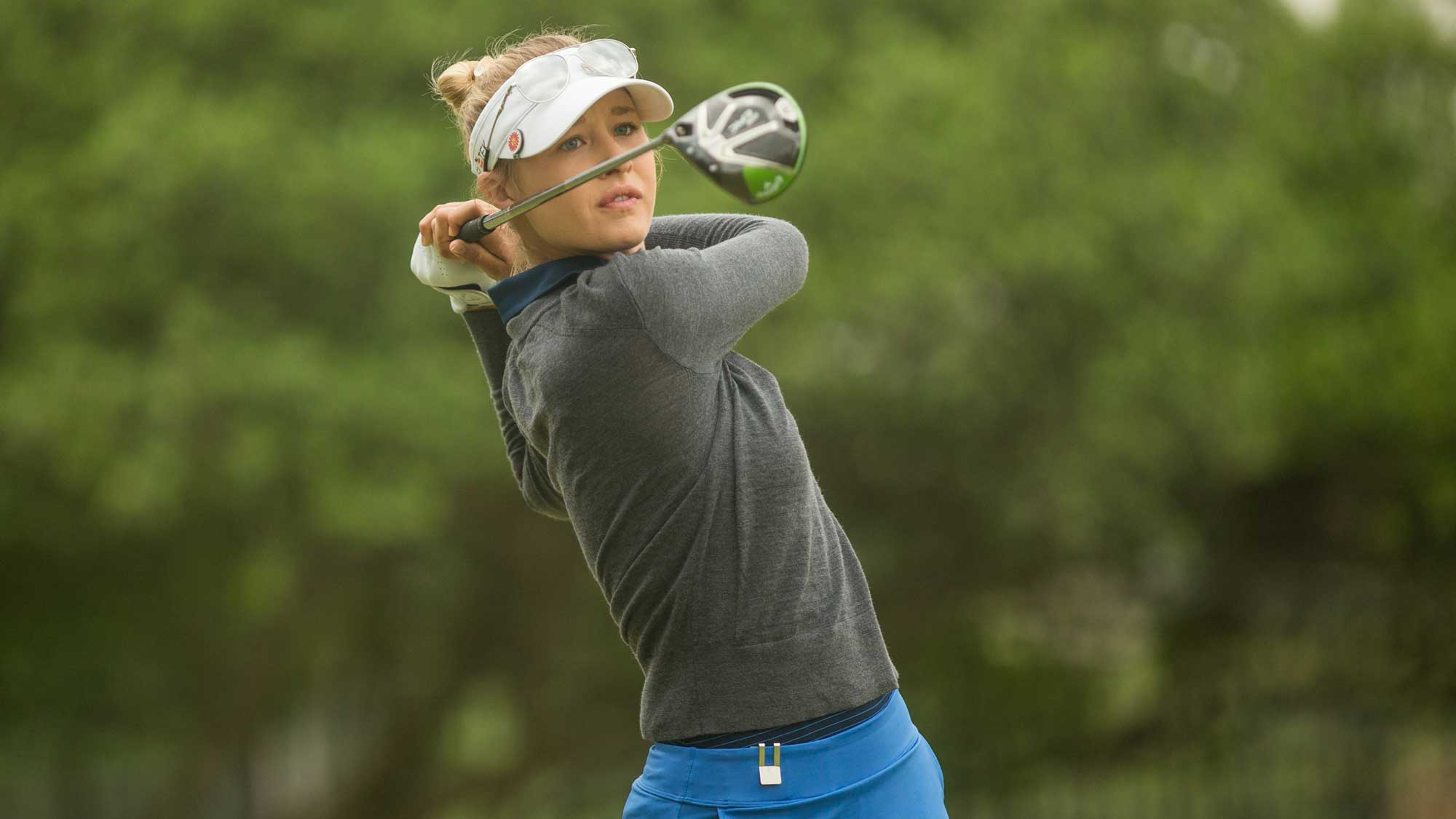 Nelly Korda of the United States plays her tee shot at the second hole during the third round of the Volunteers of America Texas Shootout