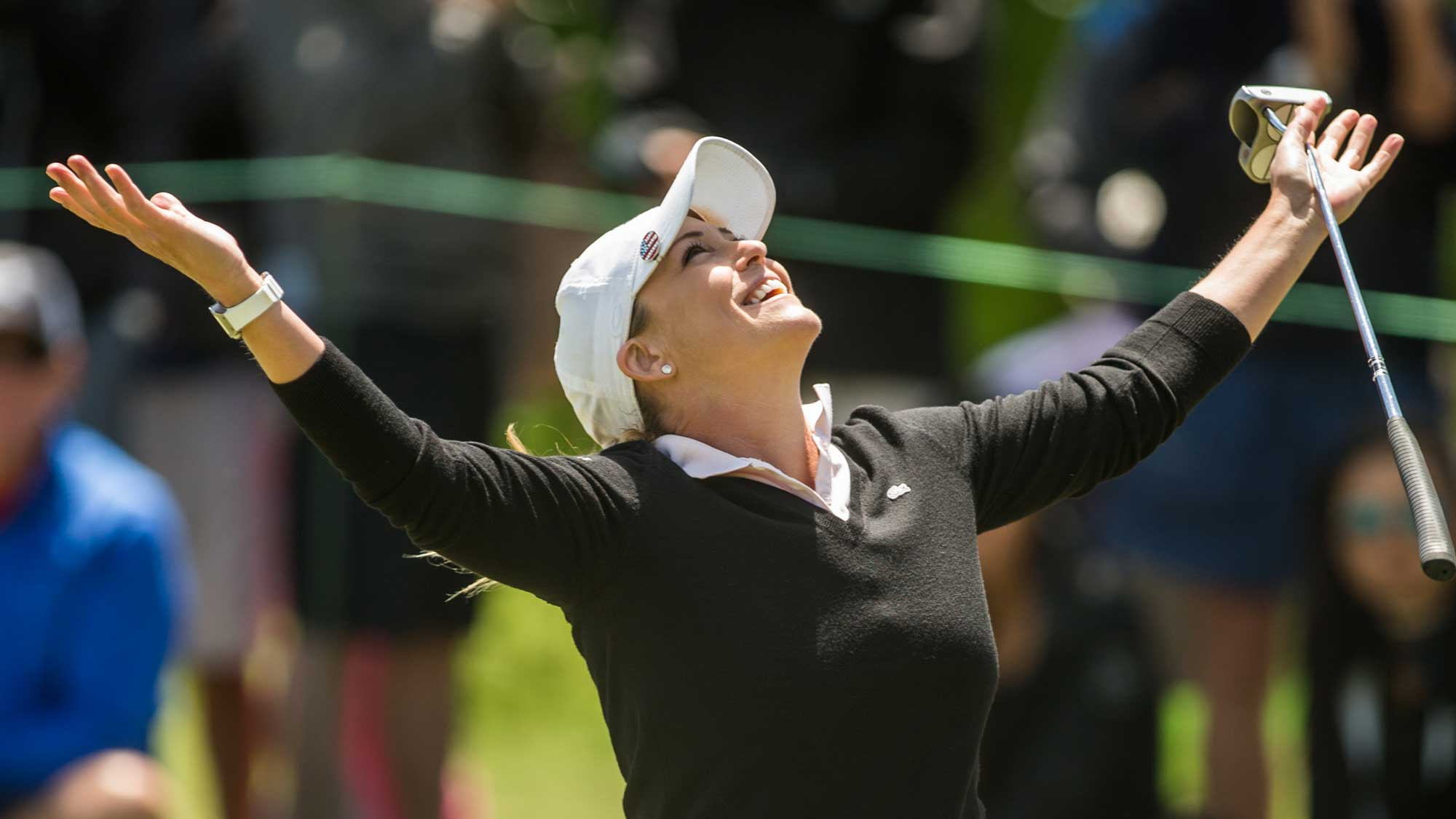 Cristie Kerr of the United States reacts to making a birdie putt at the eighth hole during the final round of the Volunteers of America Texas Shootout