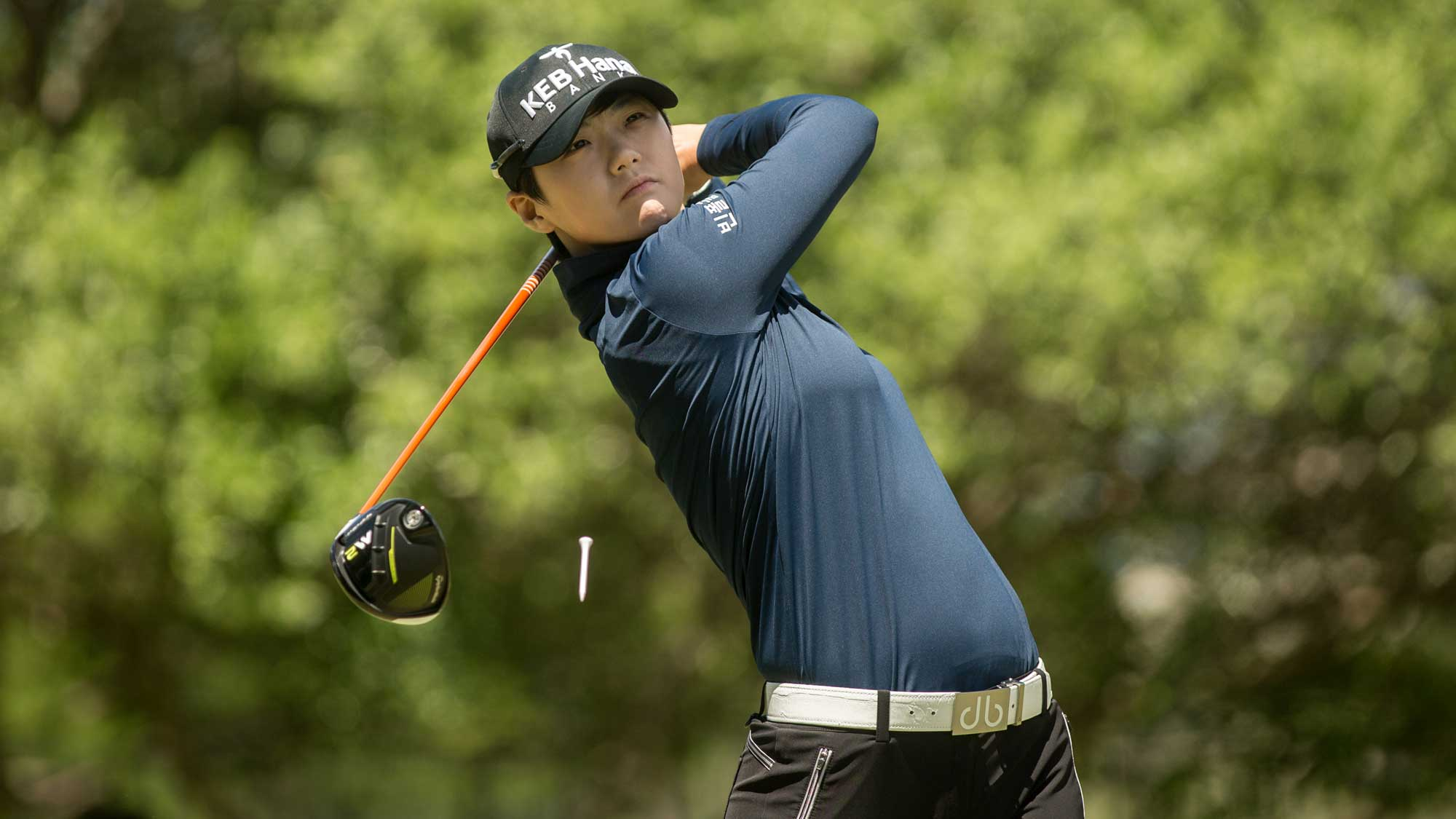 Sung Hyun Park of South Korea plays her tee shot on the second hole during the final round of the Volunteers of America Texas Shootout