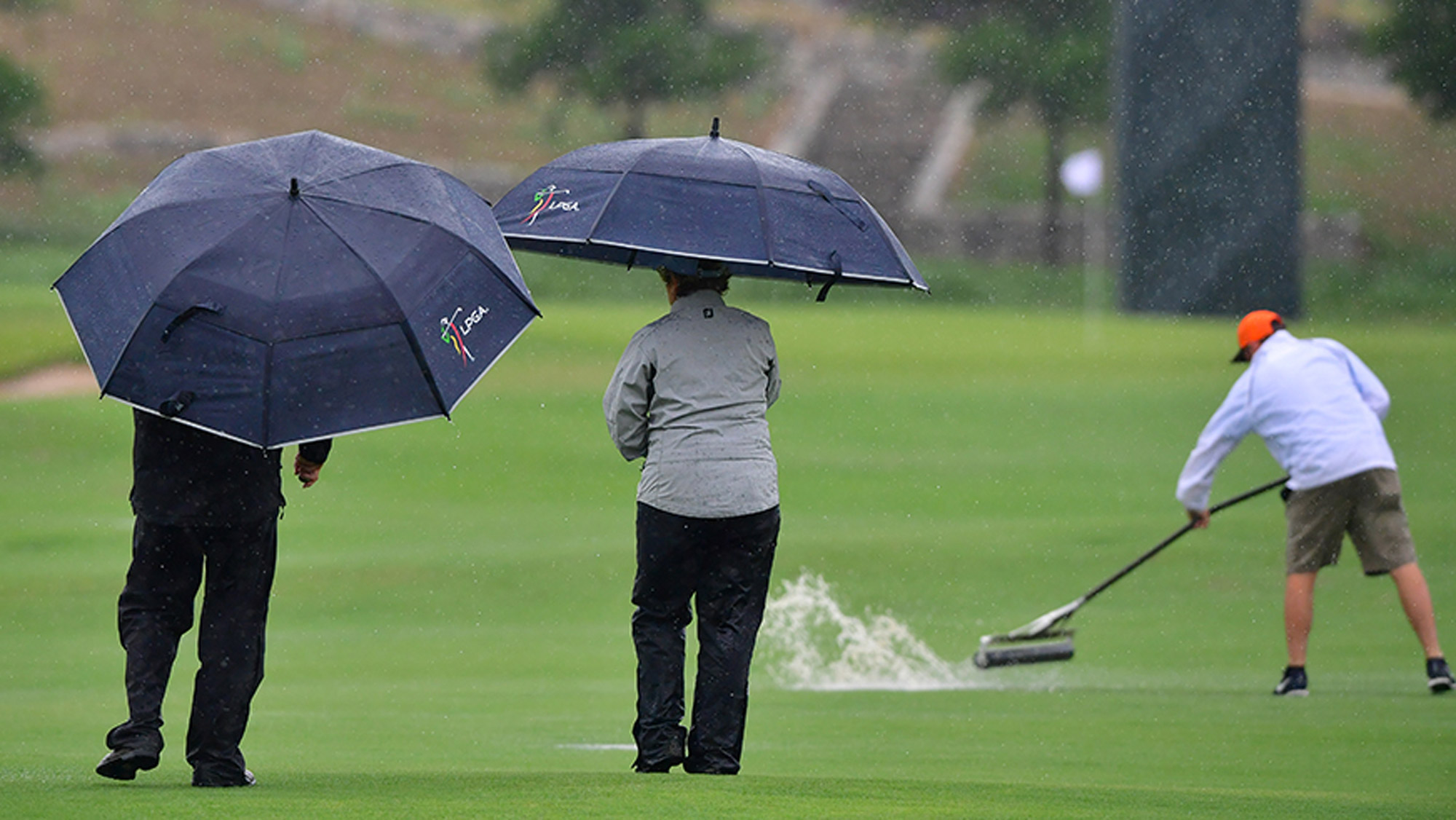 South Korea's Ko grabs share of lead in rain-hit Indy LPGA