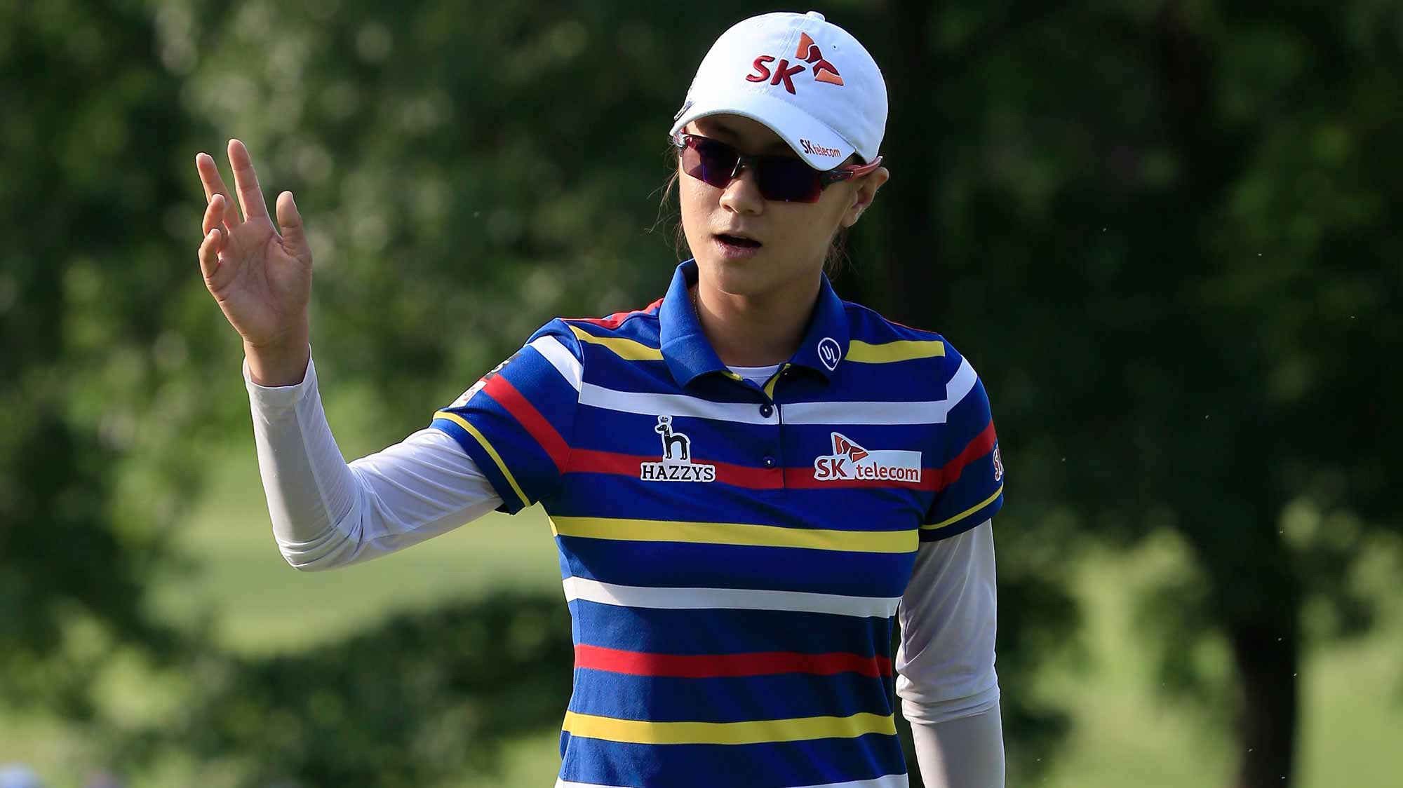 Na Yeon Choi of South Korea reacts after winning the Walmart NW Arkansas Championship Presented by P&G at Pinnacle Country Club