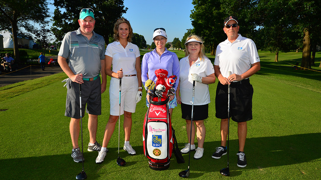 Morgan Pressel poses for a photo with her Wednesday Pro-Am Team at the 2016 Walmart NW Arkansas Championship