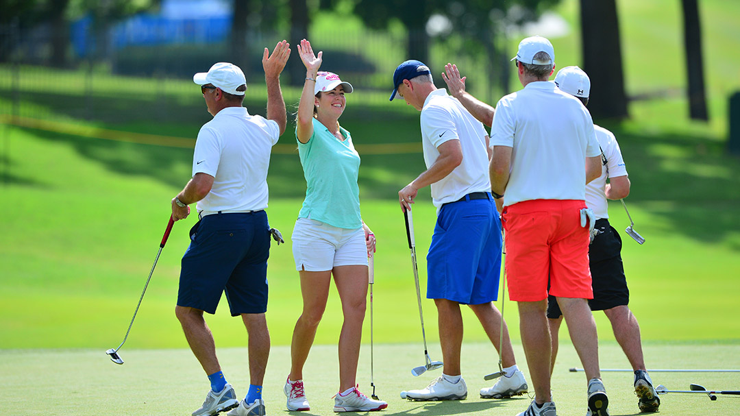 Paula Creamer with her Thursday Pro-Am Team at the 2016 Walmart NW Arkansas Championship