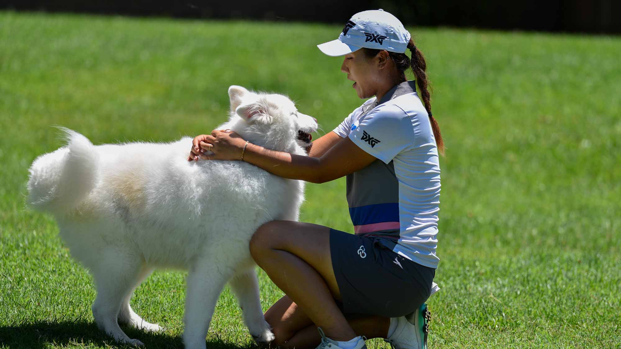 Defending champion Lydia Ko makes friends with a dog on-site at the 2017 Walmart NW Arkansas Championship Presented by P&G