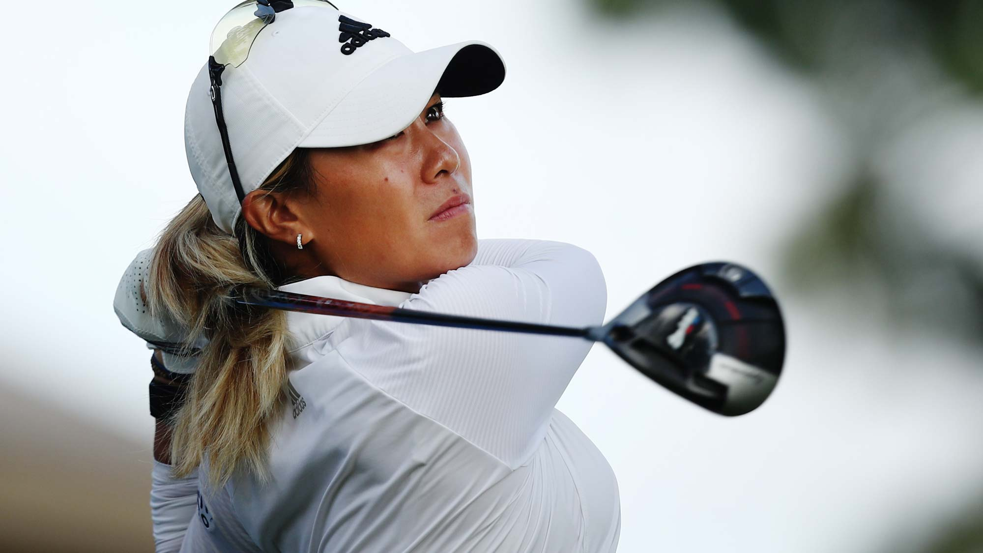 Danielle Kang tees off on the 16th tee during the first round of the LPGA Walmart NW Arkansas Championship