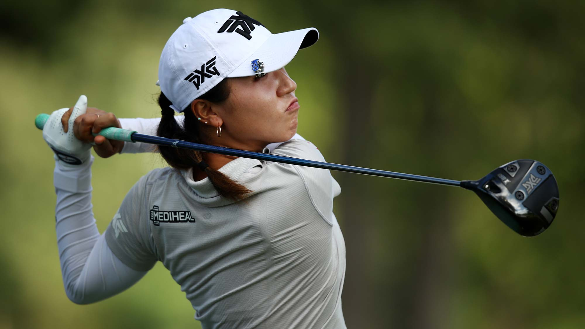 Lydia Ko of New Zealand tees off on the 16th tee during the first round of the LPGA Walmart NW Arkansas Championship