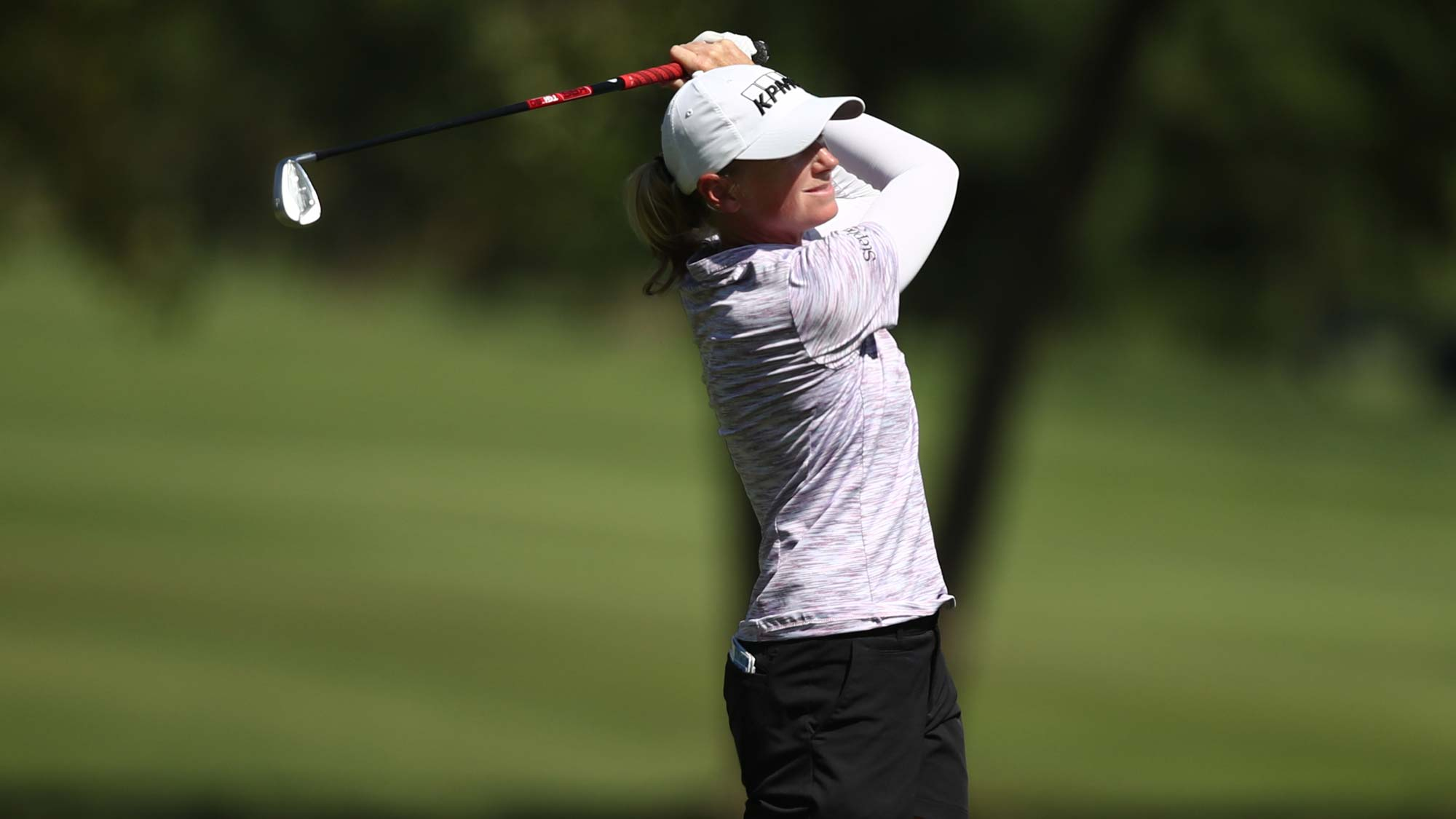 Stacy Lewis plays a shot on the ninth hole during the first round of the LPGA Walmart NW Arkansas Championship