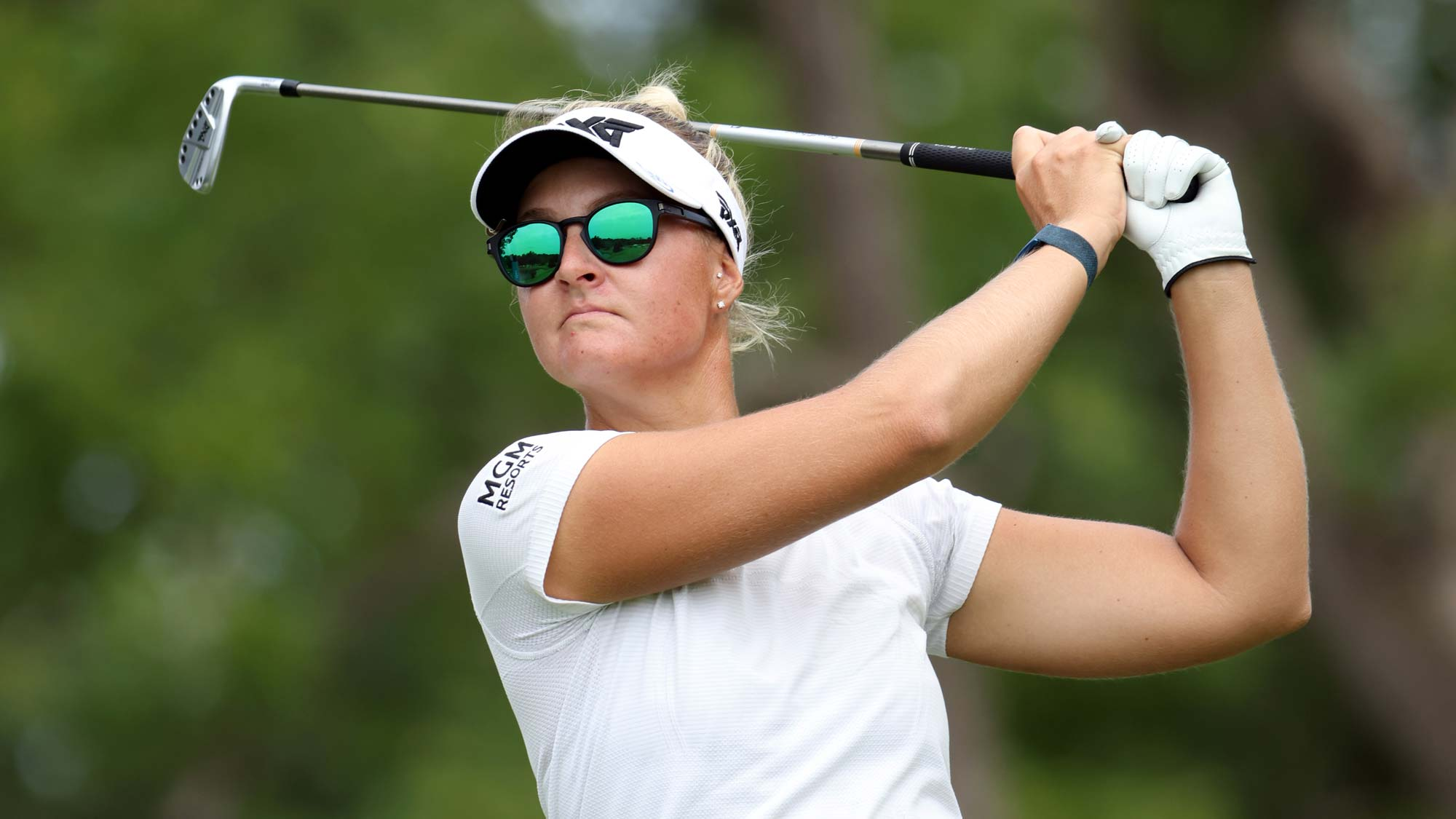 Anna Nordqvist of Sweden hits her first shot on the 3rd hole during the second round of the Walmart NW Arkansas Championship
