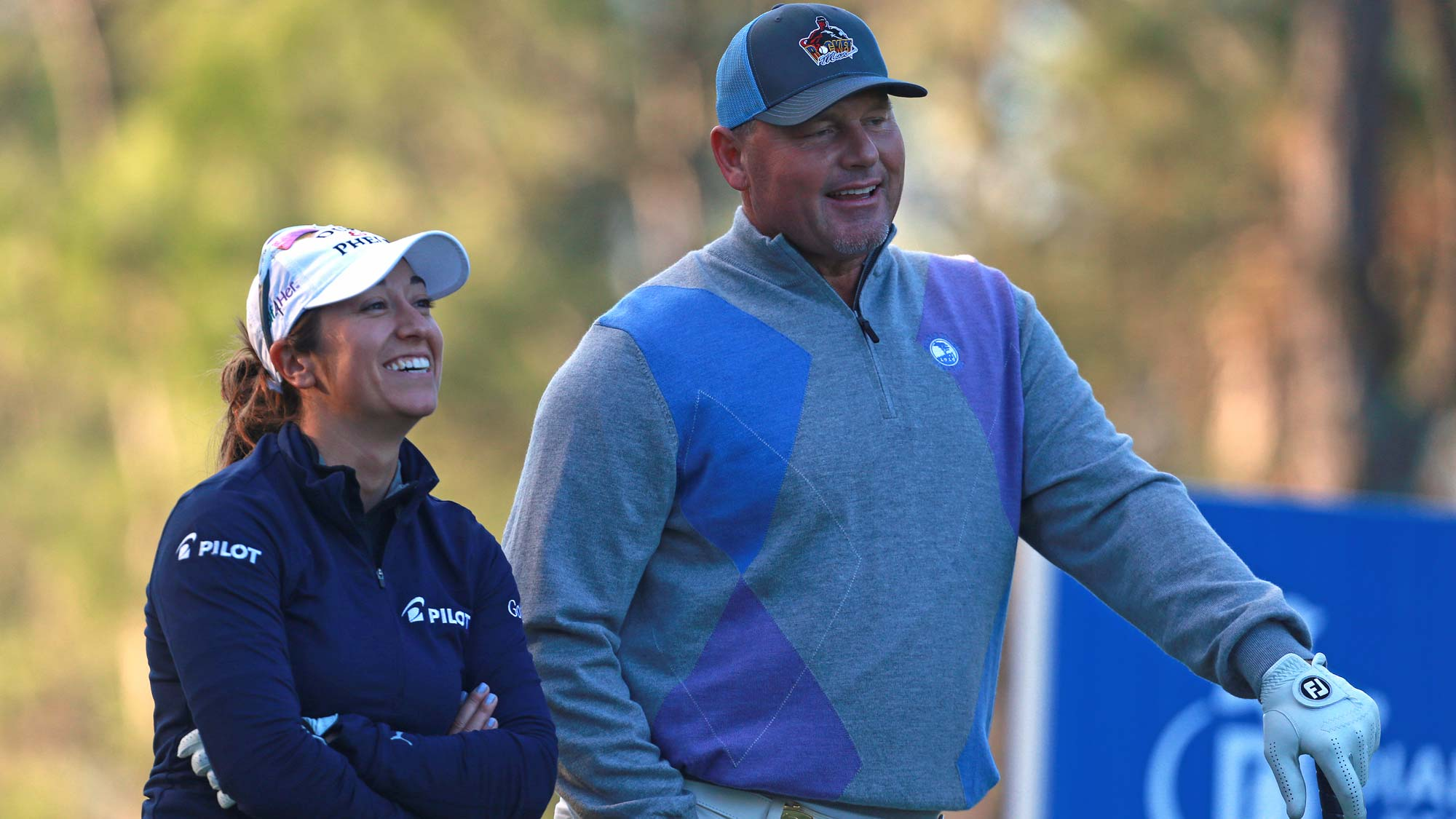 Marina Alex and Roger Clemens during round one of the Diamond Resorts Tournament of Champions
